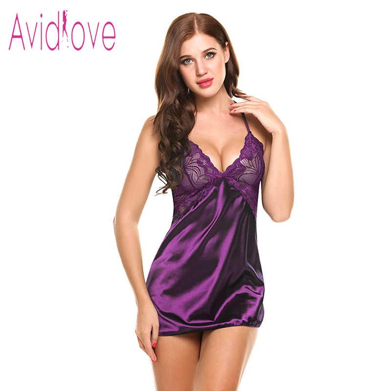 f761e84fe0 ... Avidlove Sexy Nightgown Lingerie Fashion Patchwork Nightdress Women  Sheer Scalloped Satin Nightwear Silk Slip Sleepwear Chemises ...