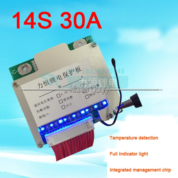 14S 48V Li-ion Lithium Cell 30A 18650 Battery Protection BMS PCM PCB Board with Balance new arrival 50x21x1mm 10a bms charger protection board for pack of 3 18650 li ion lithium battery cell wholesale price board