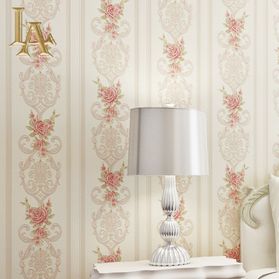 Modern Striped Floral European Style Wallpaper For Walls Bedroom