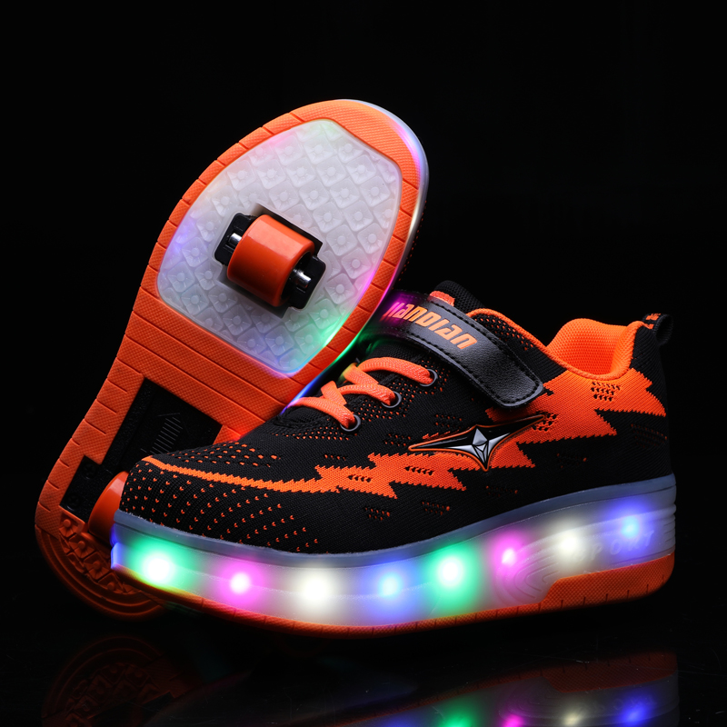 Deux Roues Lumineux Sneakers USB De Charge lumière led chaussures de patin à roulettes pour Enfants chaussures pour enfants Garçons Filles Chaussures Lumière Up Unisexe