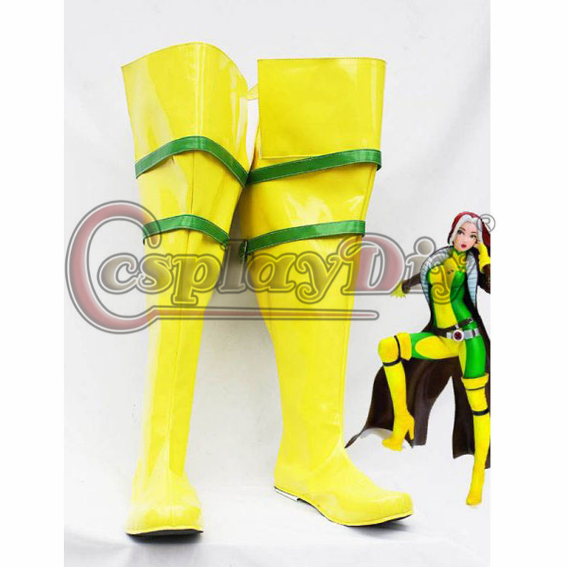 Rogue Cosplay Boots Shoes Adult Girls Women's Knee High Yellow Boots Custom Made