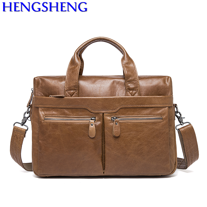 Free Shipping hot sale cow leather men handle bag with quality genuine leather men shoulder bags of fashion men leather bags