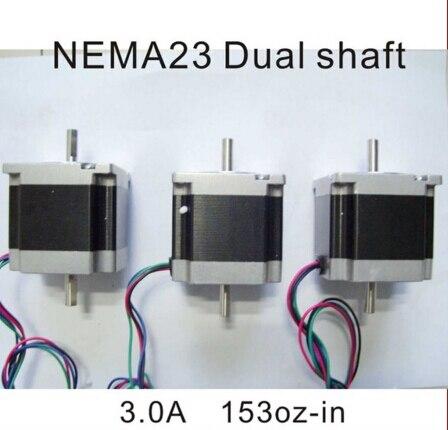 1pcs/lot NEMA 23 Stepper Motor Dual Shaft 6.35 mm 1.2n. m ( 167oz-in ) longitud de cuerpo 56 mm CNC Motor paso a paso nema23 free ship 3pcs dual shaft nema 23 stepper motor 1 89n m 268oz in 76mm 3a direct selling