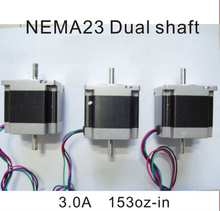 NEMA 23 Stepper Motor Dual Shaft 6.35 mm 1.2n. m ( 167oz-in ) longitud de cuerpo 56 CE ROHS CNC paso a nema23
