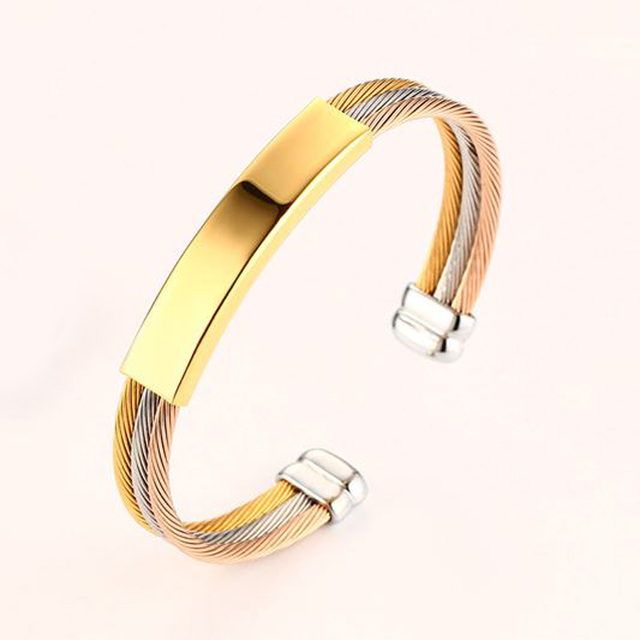 Free Engraving Men Bracelets Stainless Steel Triple Cable Wire