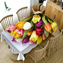 Pastoral style Colorful Roses Flower 3d Tablecloth Dustproof Washable Cloth Thicken Rectangular&Round Table Cloth for Wedding