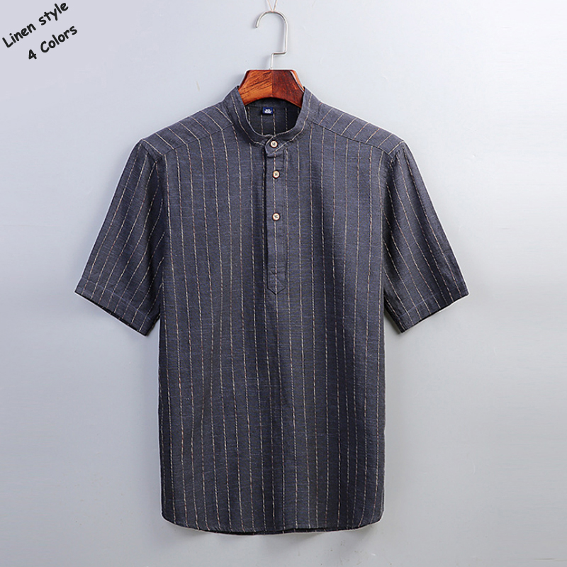 Free shipping Men's short sleeve striped linen shirts casual stand-collar mens shirts fashion cotton mens clothing loose tops