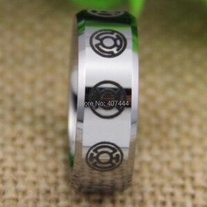 Image 4 - شحن مجاني YGK مجوهرات حار مبيعات 8 مللي متر الراحة صالح الأخضر فانوس أحلك ليلة جديد الفضة التنغستن خاتم الزواج