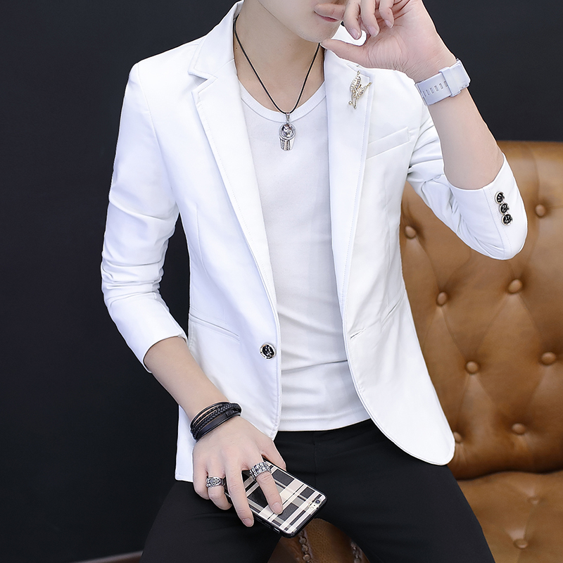 2018 The New Leisure Leather Blazer Men's PU Leather Coat Trend Of Cultivate One's Morality Handsome A Blazer