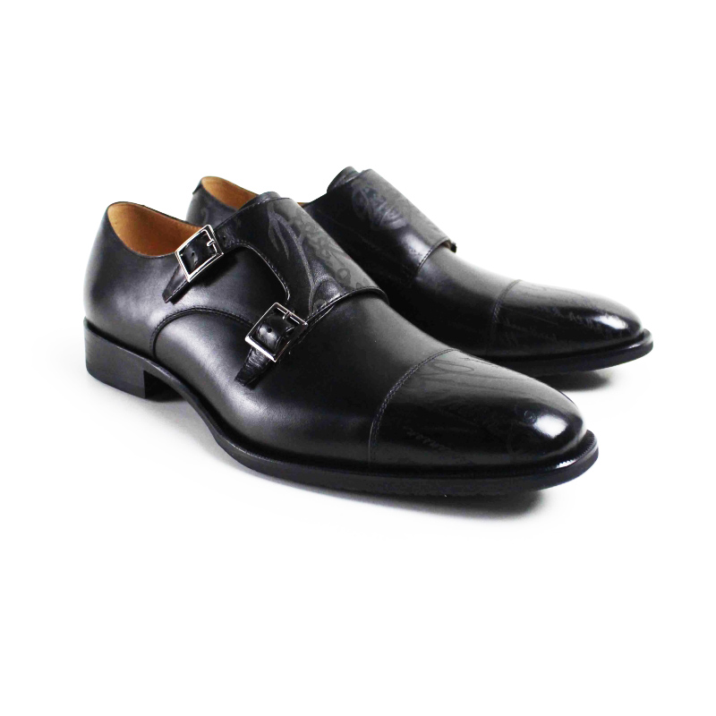 2017 Men Flat Classic Black Custom Men's Monk Shoes Handmade Laser Wedding Party Business Genuine Leather Original Design