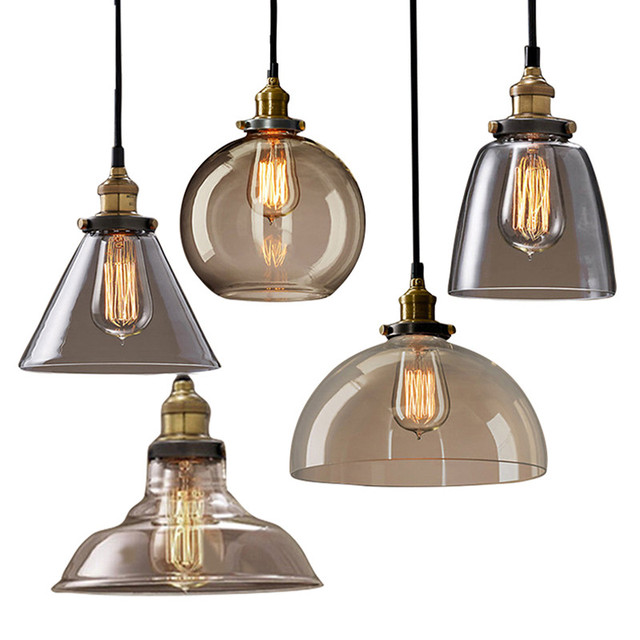 GZMJ Vintage Glass Pendant Lamps Repo LED Lights Shade Home Lighting  Lampshade Hanging Globe Kitchen Pendant Lights Led Lamps