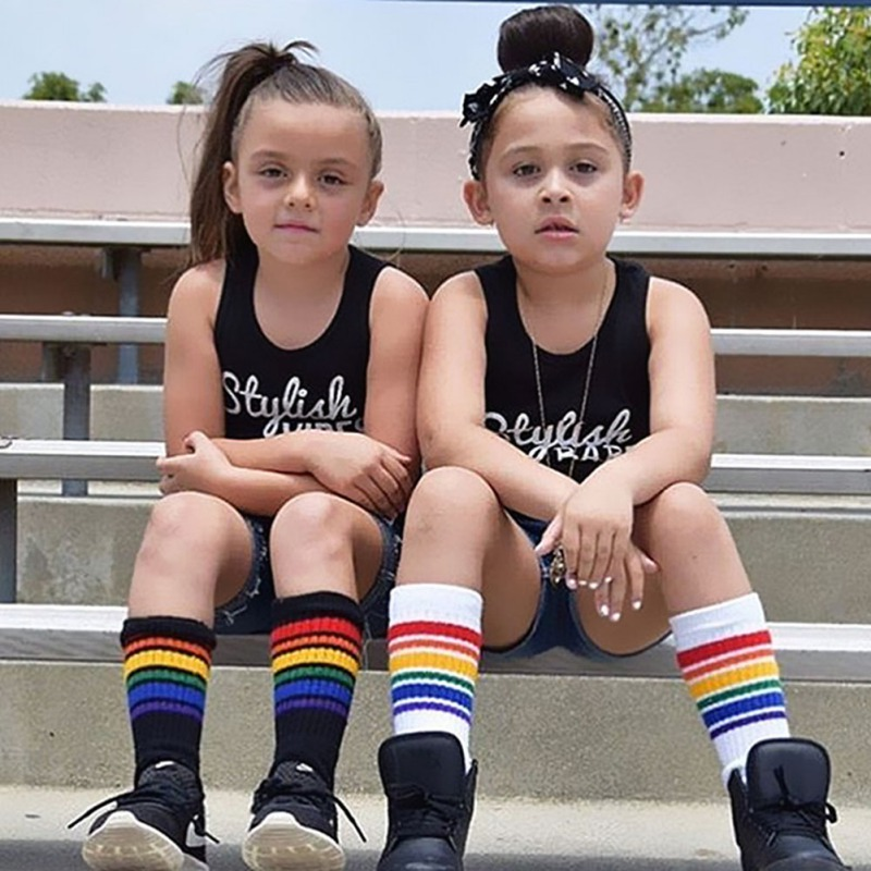 Kids Boys Girls Rainbow Striped Sock Children Soft Knee High Socks Student Football Sports Socks Kids Boys Girls Rainbow Striped Sock Children Soft Knee High Socks Student Football Sports Socks