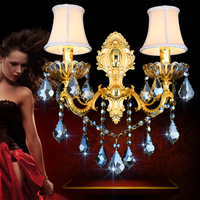 Wall lamp fashion bedroom bedside lamp background wall gold crystal wall lamp double head with lampshade