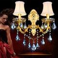 Lâmpada de parede quarto de moda lâmpada de cabeceira lâmpada de parede do fundo da parede de cristal ouro lâmpada dupla cabeça com abajur