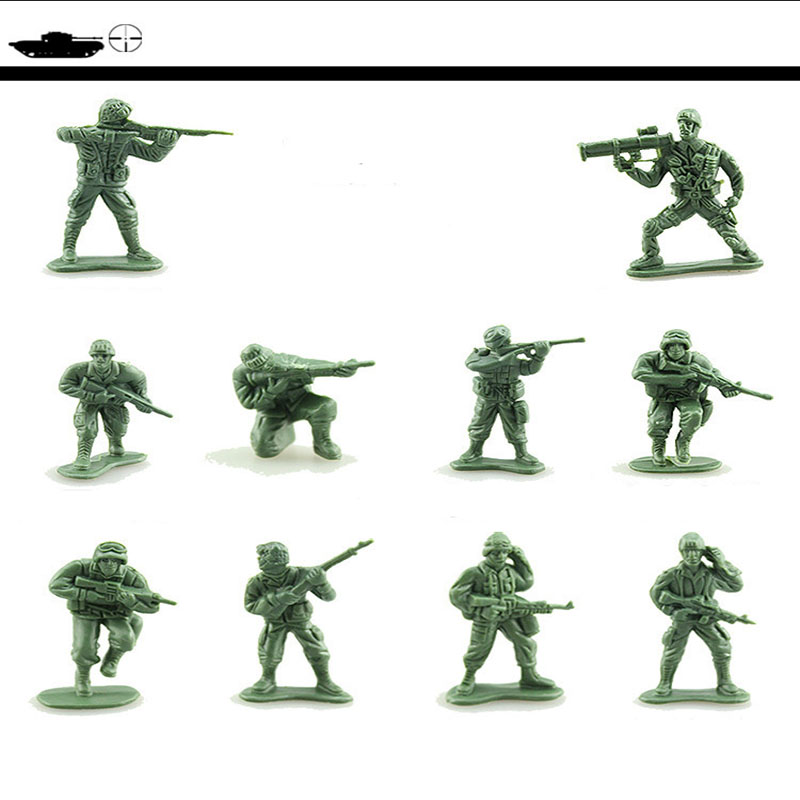 100 pcs/set Medieval Military WW2 War Simulation Warriors Soldier static Military figures Model sand table toys Children Gifts