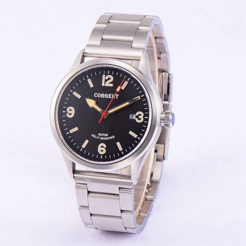 Corgeut 41mm Mens Montre Automatique Cadran Noir Verre de Saphir Montre-Bracelet En Acier Inoxydable Bracelet Jaune Mains Horloge CA2015SBY