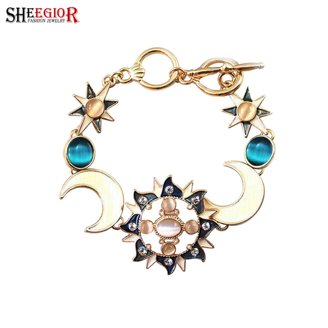 Sheegior Bohemian Gold Color Charms Bracelets Bangles For Women Lovely Opal Sun Moon Star Men S