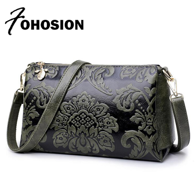 FOHOSION brands vintage Embossed woman leather handbags Flowers Shoulder Bag Luxury designer Female Messenger bags sac a main