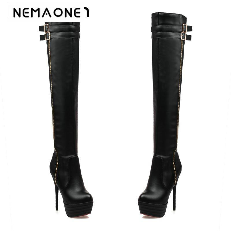 New fashion women thin high heel platform over the knee high boots sexy women boots club dancing shoes woman large size 34-46 women round toe platform over knee boots sexy woman thin high heel shoes fashion cross strap heels long botas size 34 47