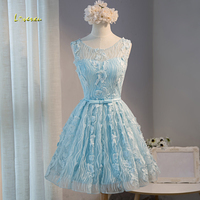 Loverxu Gorgeous V Neck Lace Knee Length Homecoming Dresses 2107 Scoop Neck Backless A Line Short