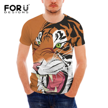 FORUDESIGNS Men T Shirt Cartoon Animal Printing T-shirt Teens Tiger Bear Pattern Tee Shirt for Males Cool Short Sleeve Tops Tees цена и фото