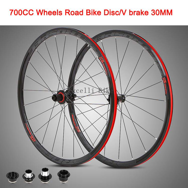 700C Wheels Road Bicycle Disc/V brake 30MM Aluminium alloy Rim 29in Cross-Country Road Bike Four-Perlin Round Spokes Anti-Cursor 700cc wheels disc brake wheels road bicycle v c brake 30mm alloy rim 29inch cross country road bike silver frame light wheel