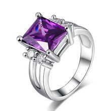 Silver plated Purple crystal Jewelry Big AAA zirconia Luxury Wine party Rings For Women Bague Bijoux Accessories MSR202