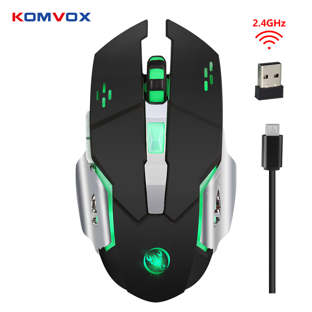 Wireless Mouse Gaming Mouse Optical 2400DPI 2.4G Computer Mouse LED 7 keys Gaming Mice Built-in Battery For PC Laptop Computer
