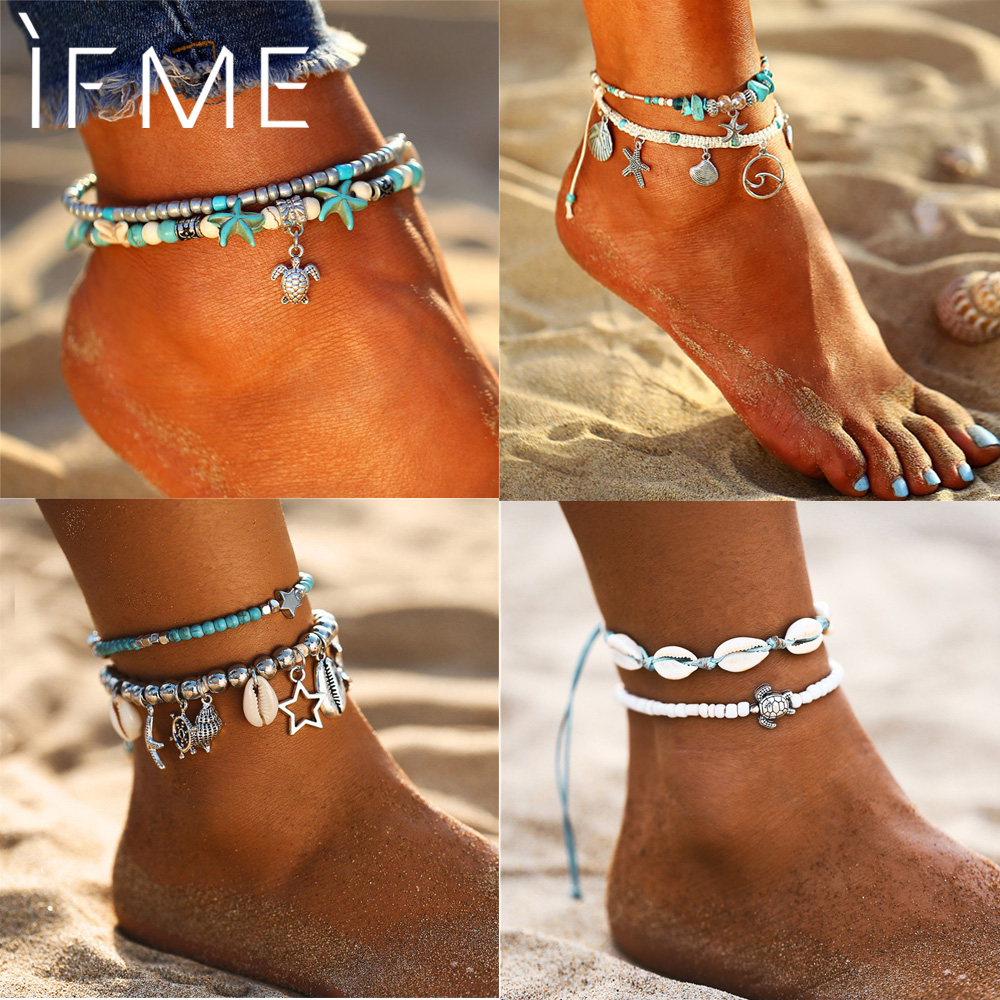 IF ME Bohemian Multiple Layers Starfish Turtle Beads Anklets For Women Vintage Boho Shell Chain Anklet Bracelet Beach Jewelry