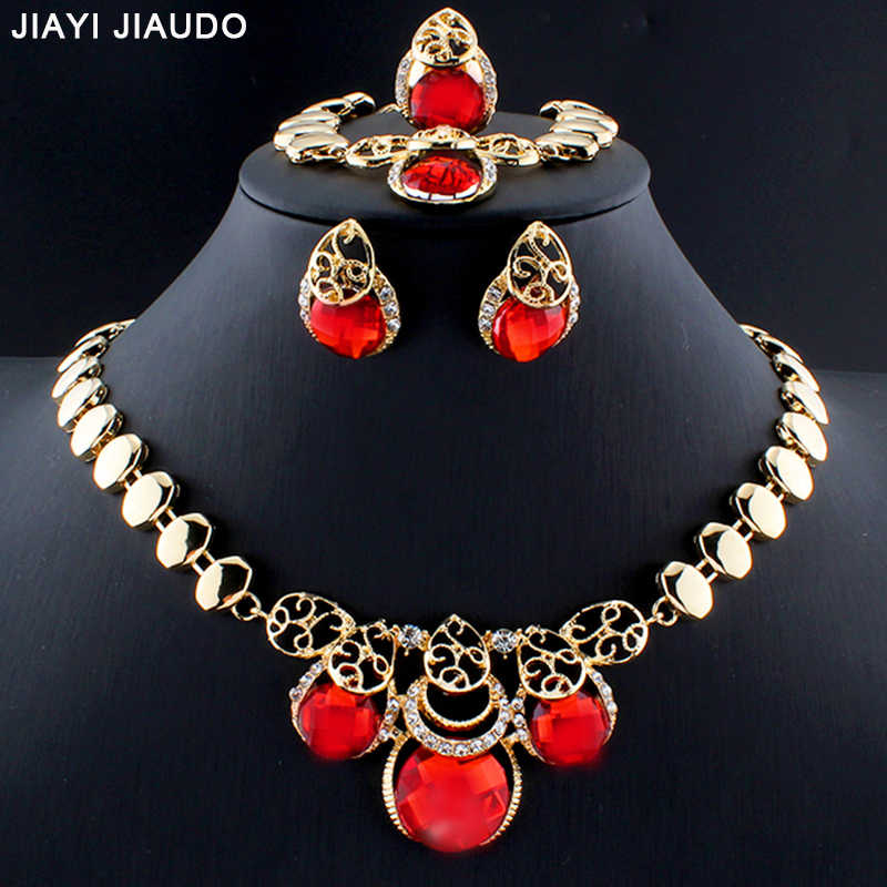 jiayijiaduo Gold Color Dubai Jewelry Set for Women Wedding Jewelry Accessories 4PS Necklaces Earrings Bracelets Ring Sets