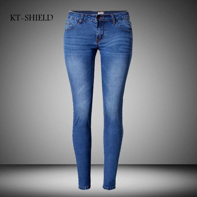 Nueva Marca de Moda Mujeres Flaco Lápiz Denim Jeans Pantalones ...
