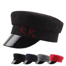 Moda Otoño Wintert mujeres hombres gorra Militar sombrero mujer sombreros  de las señoras Militar sombrero visera c2e8667c4e3