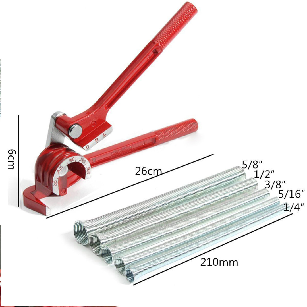 1pc 3in1 180 Degree Tube Pipe Bender Plumbing Copper Aluminum Pipe Bending Tool with 5pcs Spring Bending Tube