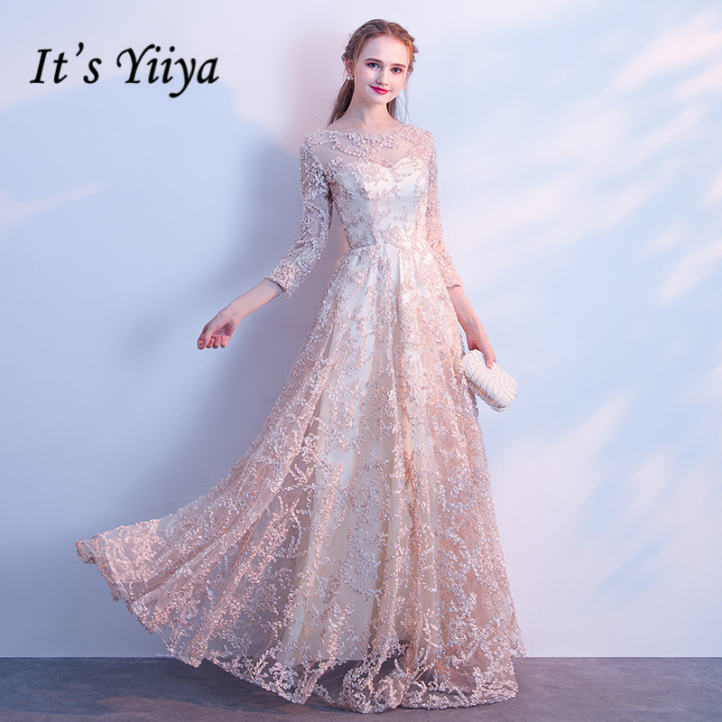 It's YiiYa   Evening     Dress   2018 O-neck Three Quarter Sleeve Lace Sexy Illusion Flowers Party   Dresses   Floor Length YS001