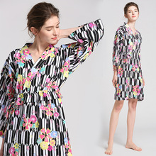 bielizna nocna Women Robes Sleepwear Bathrobe Home Wear Nightshirt Nightdress Cotton Print Floral koszula nocna цена 2017
