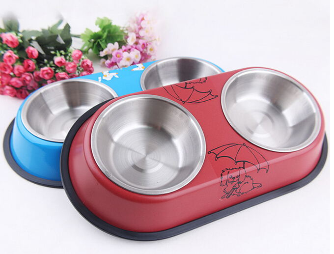Hot sale High quality Stainless steel Universal non-slip pet food bowl Dog Dual bowl Free shipping image