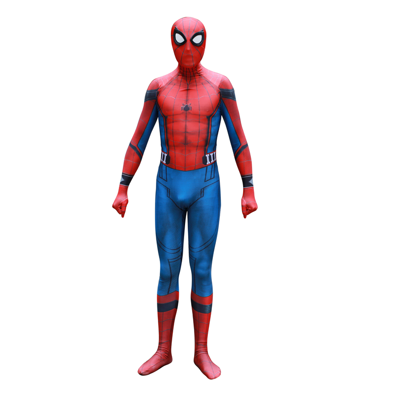 Adult Men Boys Civil Car Homecoming Spider-man Cosplay Costume Zentai Suit Spider man Halloween Costume Suit Spandex Bodysuit