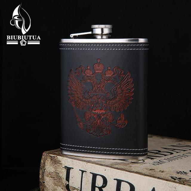BIUBIUTUA Stainless Steel 8oz Mini Hip Flasks Red National Emblem Design Pattern Leather Whiskey Flask
