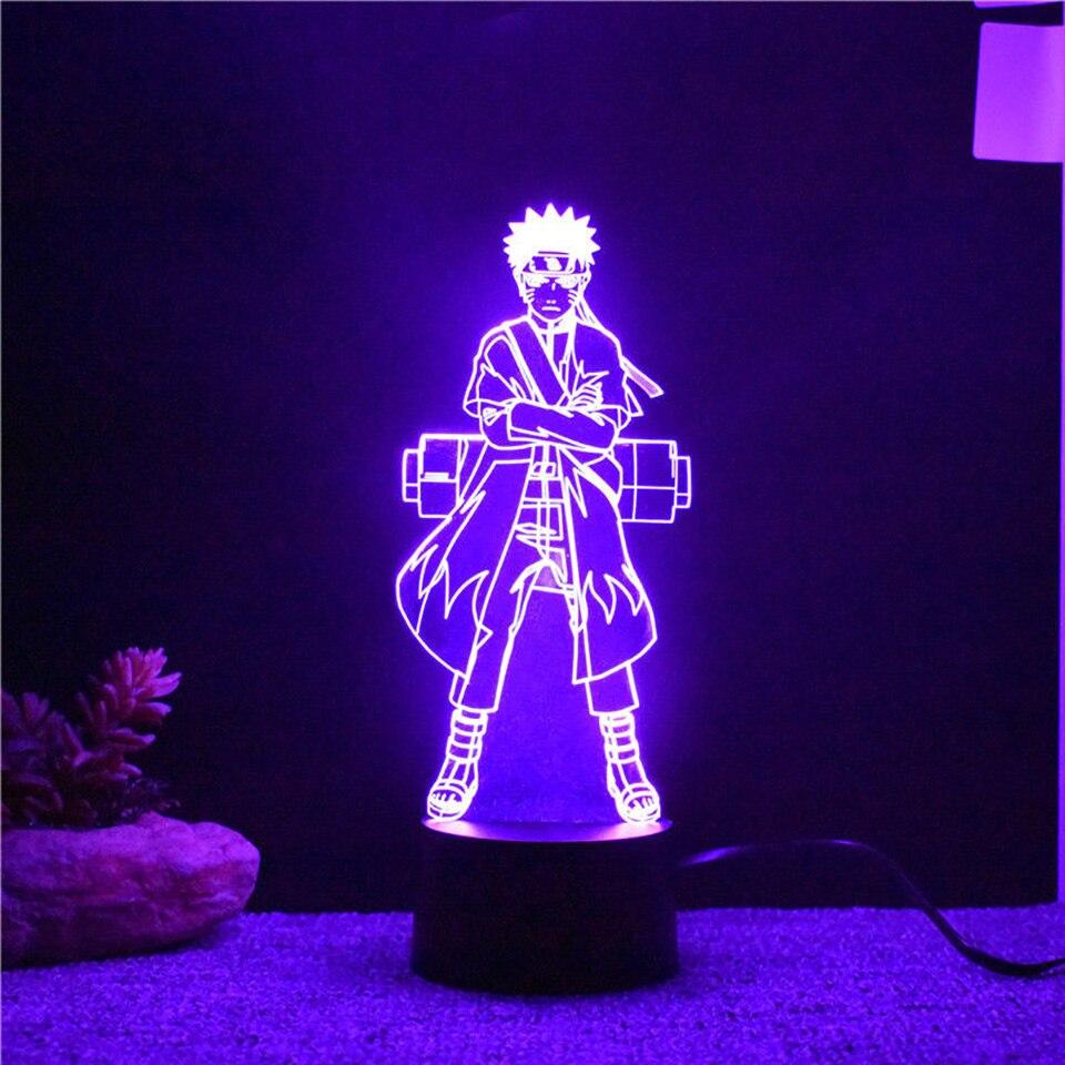 7 colores que cambian 3D visual Naruto modelado LED anime Luces de noche niños botón táctil USB lampara Mesa Decoración para el hogar Iluminación