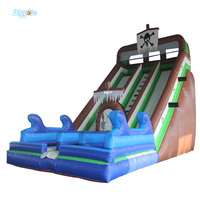 Outdoor Inflatable Recreation Slide PVC Vinyl Inflatable Water Slides Giant Double Lanes