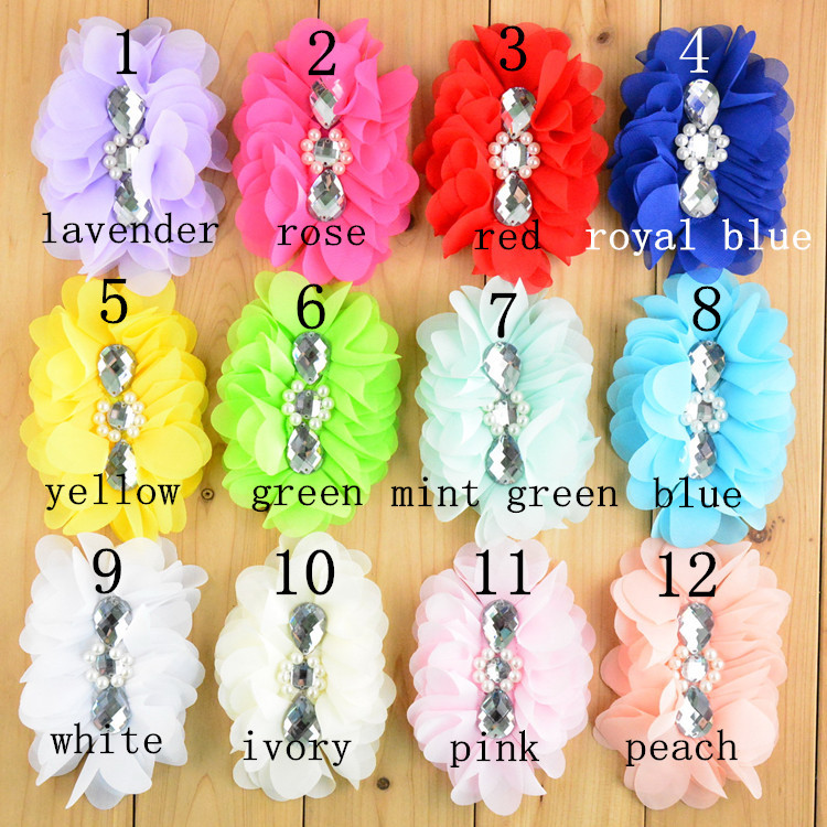 5'' Large Ballerina Chiffon Flowers With Pearl And Rhinestone In Center girl Hair Accessories Free Shipping 100PCS/LOT TH87-in Hair Accessories from Mother & Kids    1