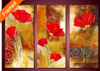 Big red flowers canvas painting hot sell pictures on the wall modern hand painted canvas oil painting reproduction artwork