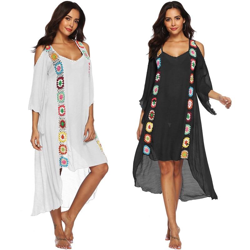 Long Sleeve Summer Beachwear 2020 Kaftan Tunic Beach Dress Women Pareo Cover-ups Swimsuit Cover Up 2021 Plus Size Maxi Dresses