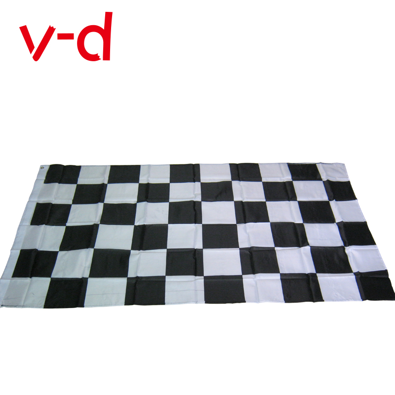 free shipping xvggdg Black and White Plaid Banner 3*5ft Car Racing flag Racing Checkered Flags Motorsport Racing Banner(China)