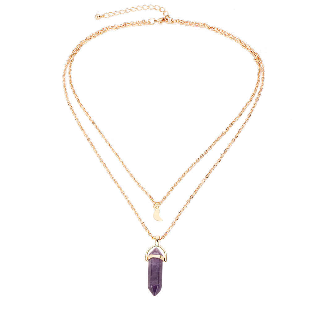 Natural Stone Bullet Pendant Necklaces Gold Color Moon Statement Charm  Double Clavicle Link Chain Women Jewelry