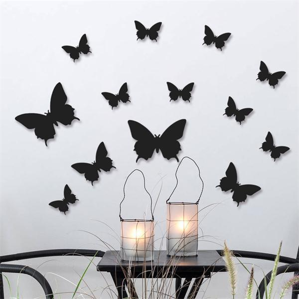 12pcs/lot Colourful Butterfly DTY Home Decor Wall Stickers/ Christmas Wedding Decoration Gift ETH068