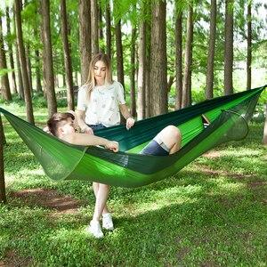 Image 3 - 250*120cm configuración rápida hamaca de red portátil cama colgante para dormir para acampar al aire libre viajes senderismo 98*47 tienda Pop Up