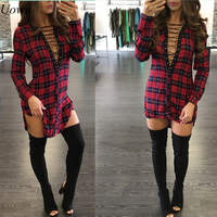Quality Hot Fashion Cross Lace Up Women Long Shirts Full Sleeve Print Plaid Shirt Sexy Deep