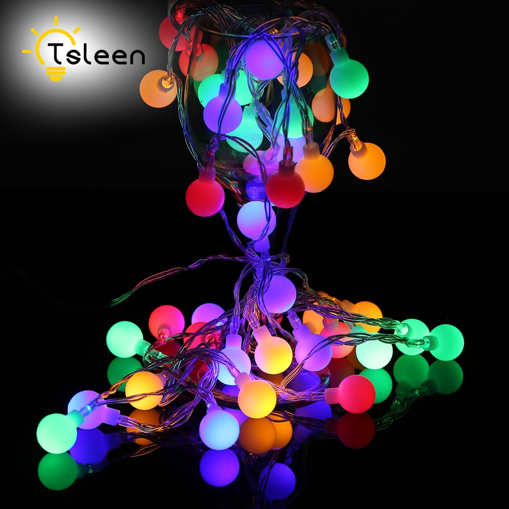TSLEEN 4PCS LED Fairy ball String Light 7m 5OLeds Solar Powered Warmwhite Colorful Wedding Christmas Party Decoration Outdoor cis 57456 solar powered 50 led white xmas party wedding decor string light black 3 2v 7 5m