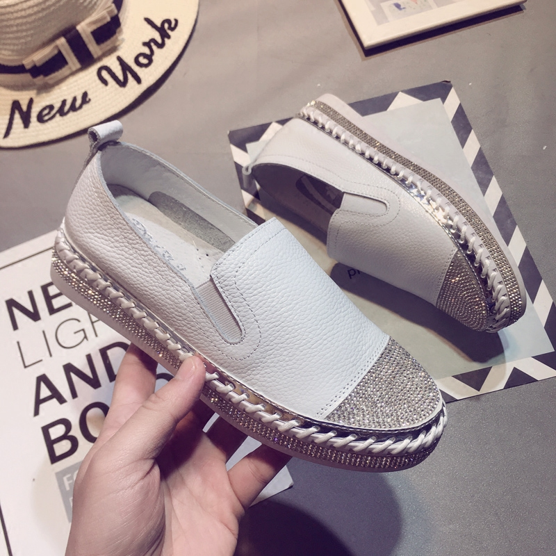 Européenne Blanc Ballerines En Véritable Espadrilles Cuir Chaussures Mocassins Femme Femmes Pour Patchwork pHCxPwrSqp